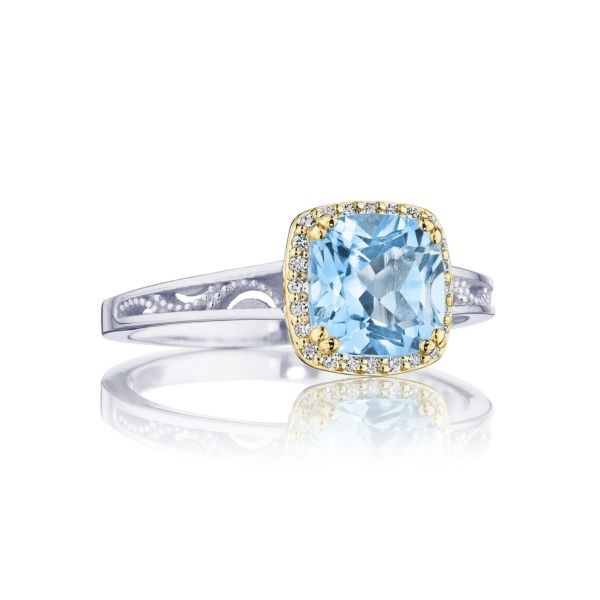 Tacori Cushion Bloom Sky Blue Topaz Ring with Diamonds