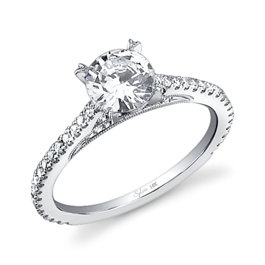 Sylvie 14k Classic Diamond Engagement Ring with Detail on Profile