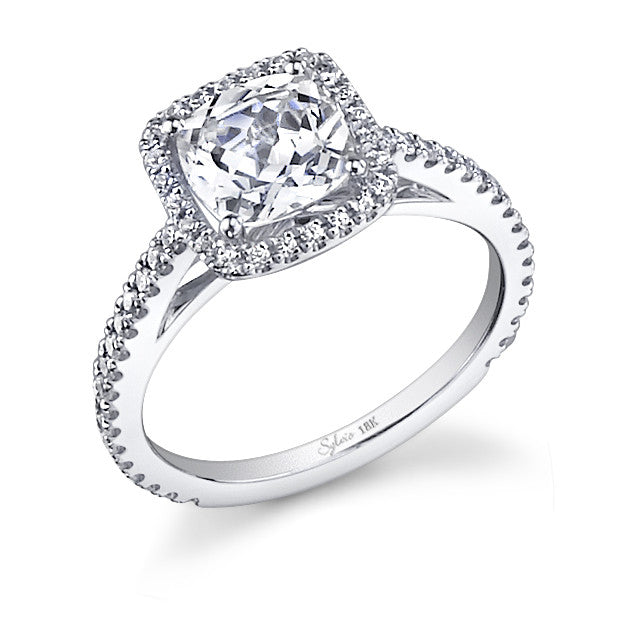 Sylvie 14k White Gold Cushion Halo Ring with 48 Round Diamonds