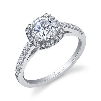 Sylvie 14K Cushion Halo Diamond Engagement Ring