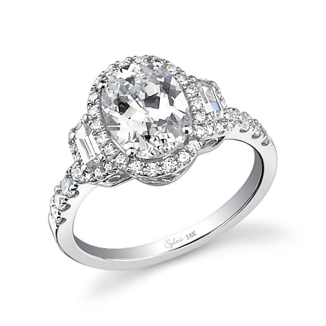 Sylvie 14k White Gold Halo Ring with 46 Round Diamonds and Baguette Accents