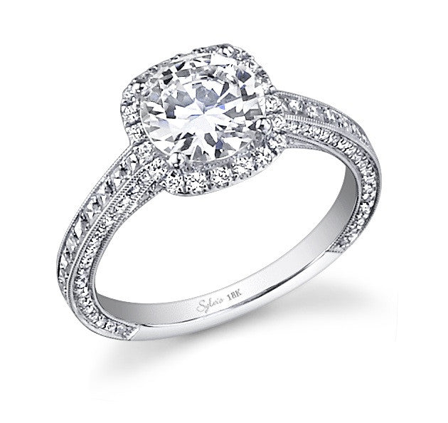 Sylvie 14k White Gold Halo Ring with Princess and Round Cut Diamonds