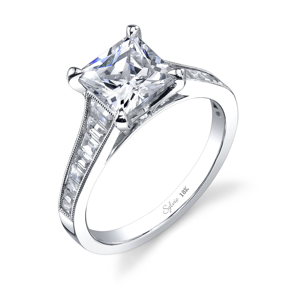 Sylvie 14k White Gold Tapered Channel Set Ring with Emerald Cut Diamonds
