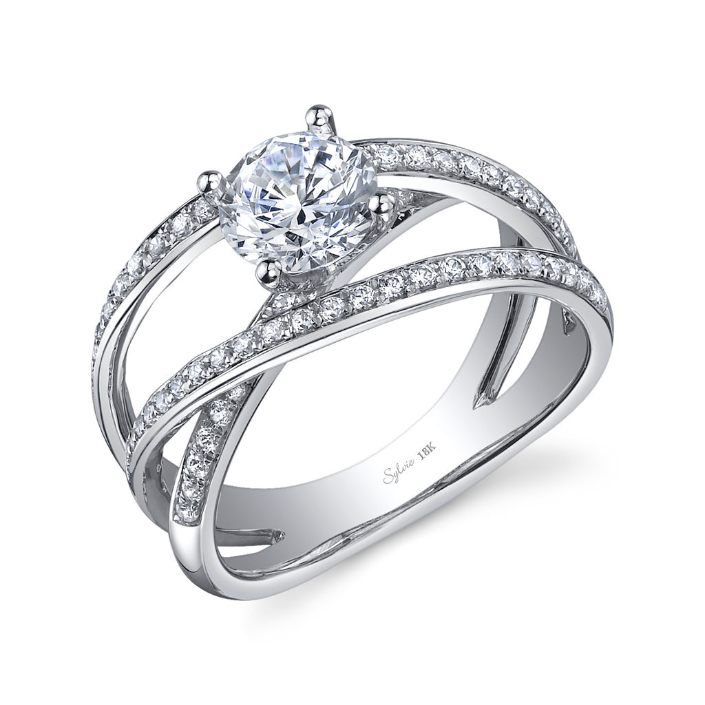 Sylvie 14k White Gold Crossover Ring with Diamonds