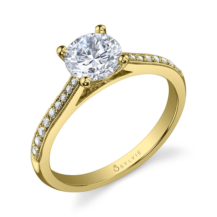 Sylvie 14k Yellow Gold Ring with 18 Round Diamonds
