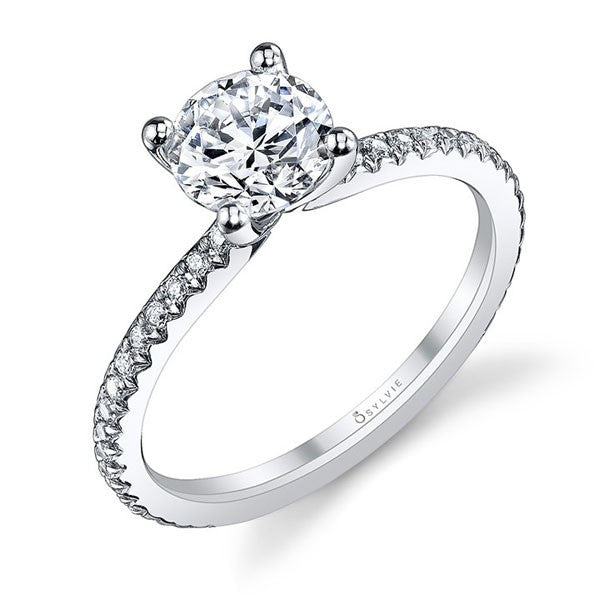 Sylvie 14K Classic Solitaire Engagement Ring with Diamonds on Shank