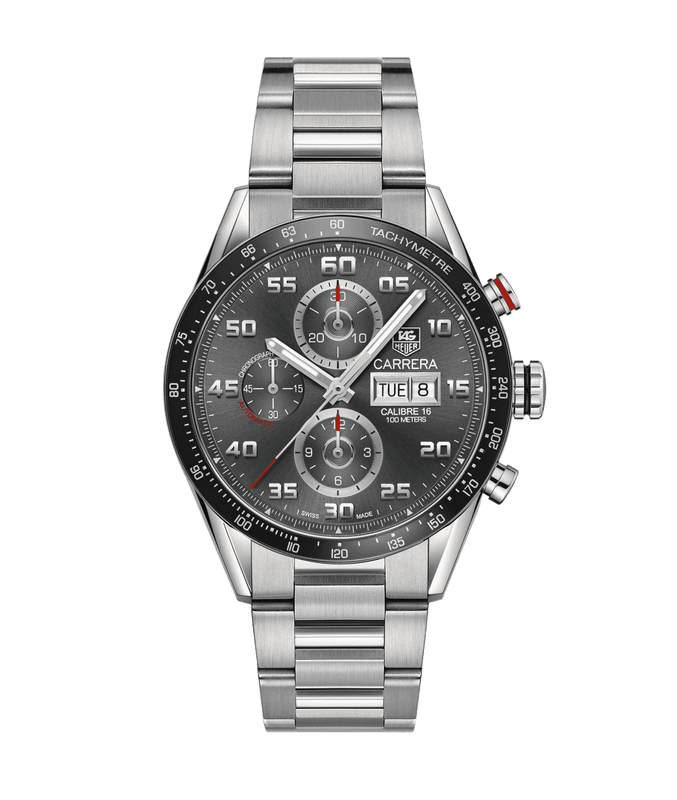 TAG Heuer Carrera Day Date 43mm Watch with Grey Dial