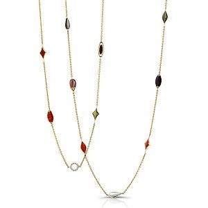 Kabana 14k Yellow Gold Layering Necklace with Inlay Stations