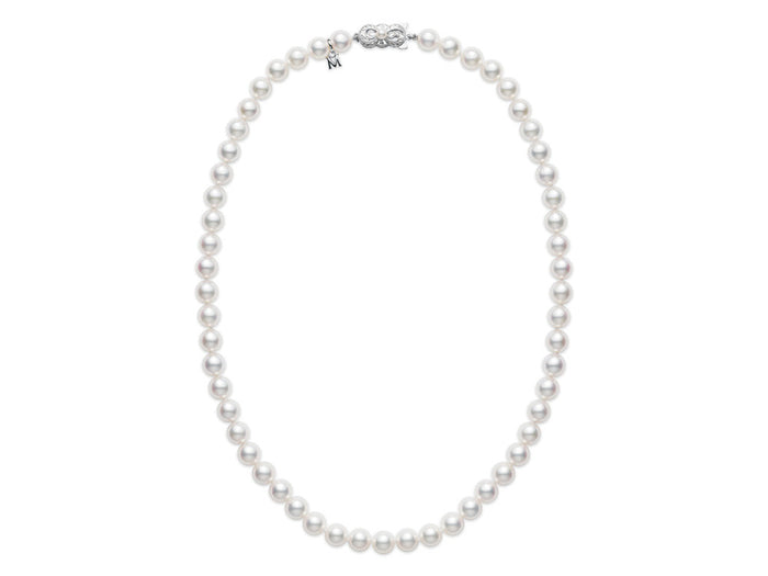 "Mikimoto 16"" WG Akoya Cultured Pearl Strand Necklace (7.5x7mm A1)"