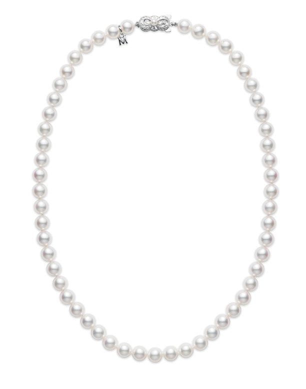 "Mikimoto 18"" WG Akoya Cultured Pearl Strand Necklace (7.5x7mm A)"