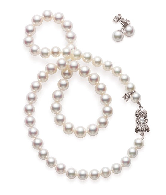 Mikimoto Akoya Pearl Strand Necklace and Earring Set