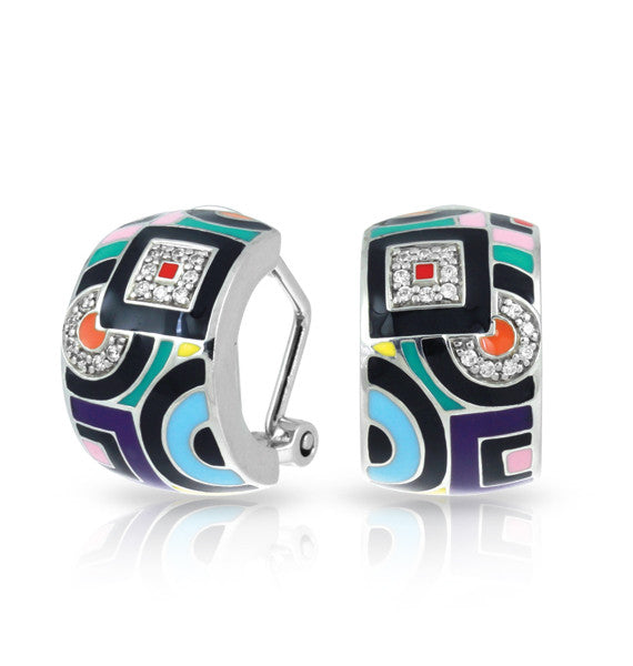 Belle Etoile Geometrica Omega Back Earrings With Multi Colored Enamel