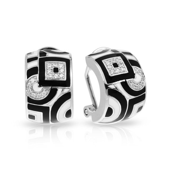Belle Etoile Geometrica Omega Back Earrings With Black And White Enamel