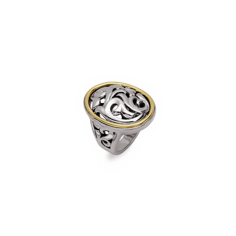 Charles Krypell Sterling Silver and Yellow Gold Ivy Ring