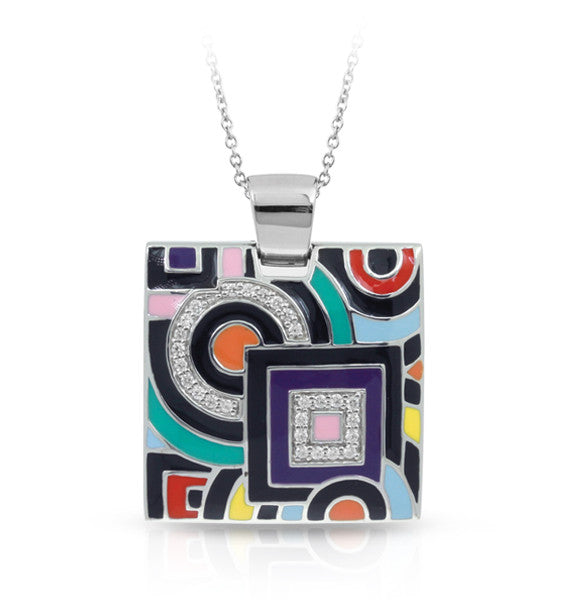Belle Etoile Geometrica Pendant With Multi Colored Enamel