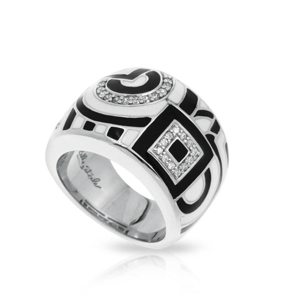 Belle Etoile Geometrica Ring With Black And White Enamel
