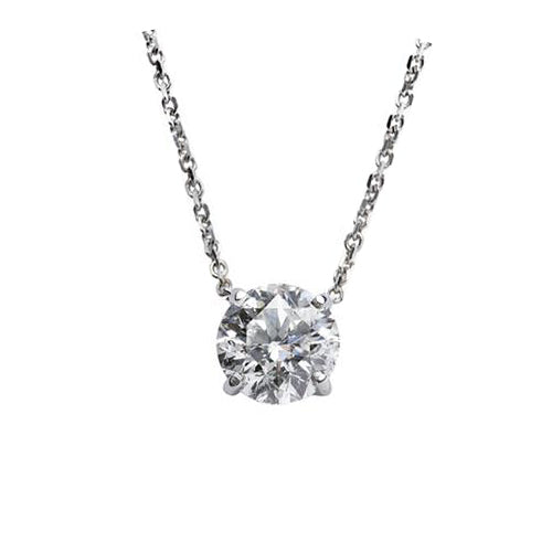 .75 Carat Classic Round Diamond Pendant in White Gold