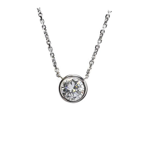 .25 carat round diamond bezel pendant in white gold