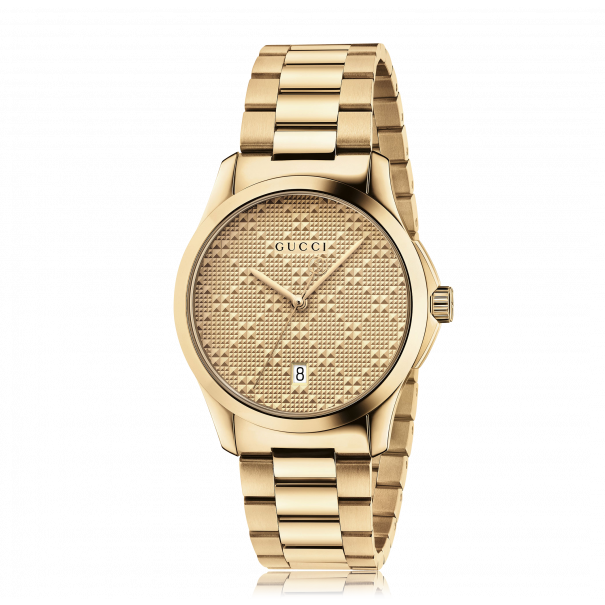Gucci G-Timeless 39mm Watch with Textured Gold Dial