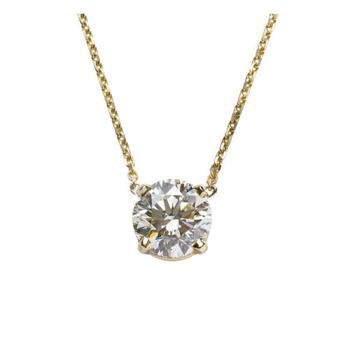 .75 Carat Classic Round Diamond Pendant in Yellow Gold