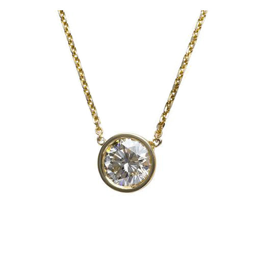 .90 Carat Bezel Diamond Pendant in Yellow Gold