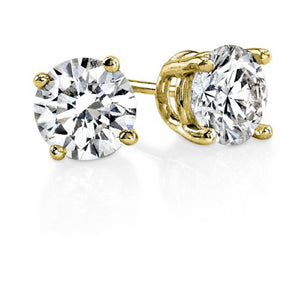 1.50 TW Round Diamond Studs in Yellow Gold