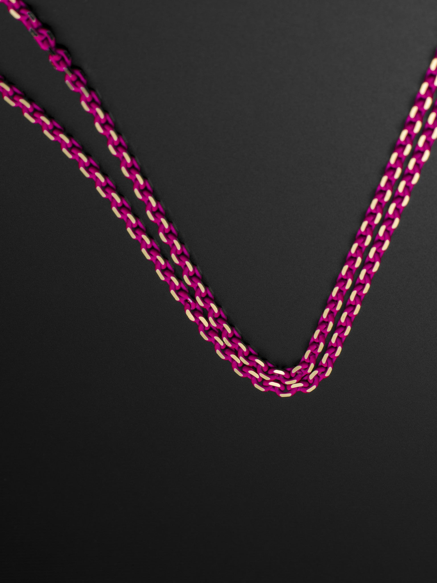Pink neon Lacquer necklace on 18ct yellow