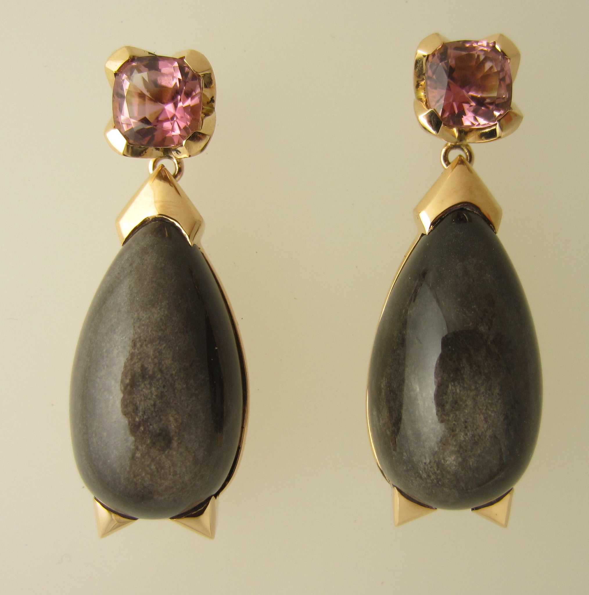 Obsidian with pink Tourmaline earrings