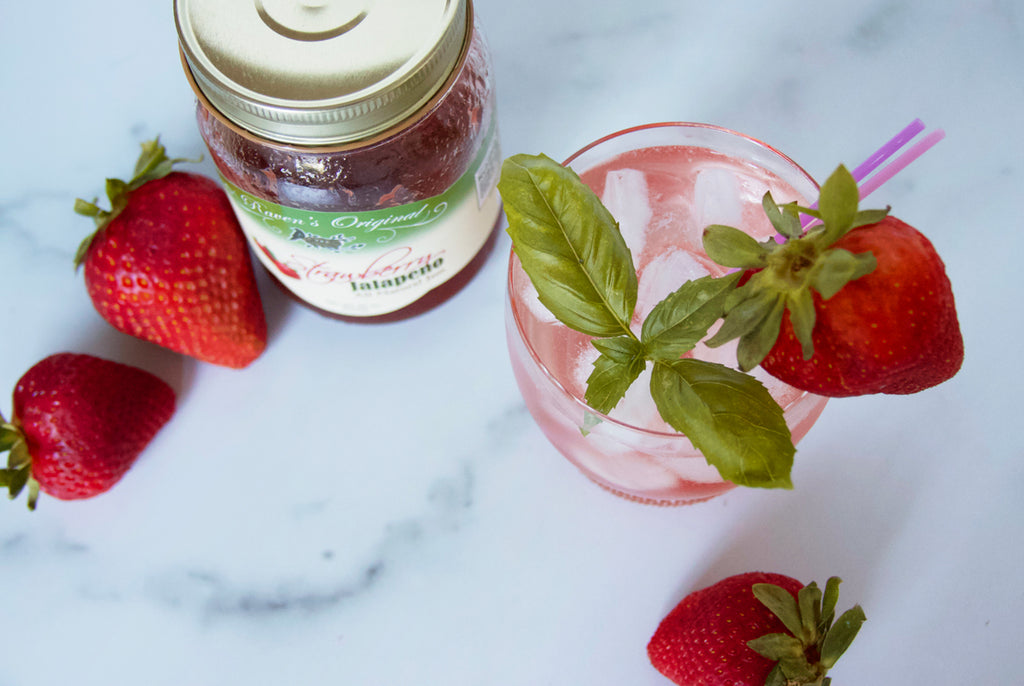 Strawberry basil refreshing summer cocktail made with Raven's Nest Strawberry Jalapeño jam simple syrup