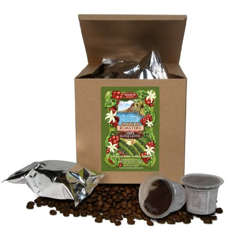 Hawaii Roasters 100% Kona Coffee, Single Serve For Keurig K-Cup Brewers, Medium Roast, 10-Pack