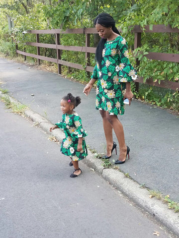 Mini~n~Me  Green Flower Power Aline dress