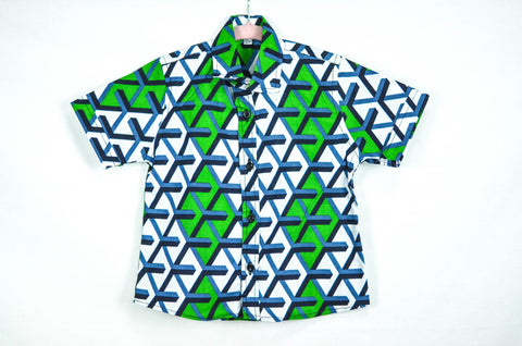 Geo Shirt - Green/ Blue /White