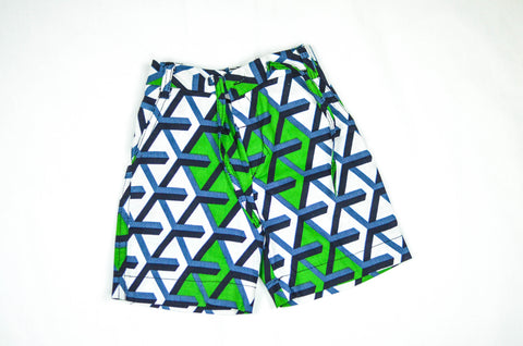 Geo Shorts - Green/ Blue /White