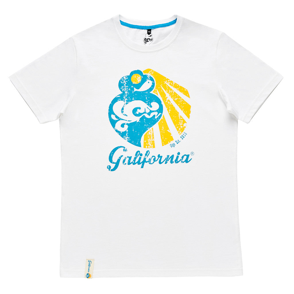 Camiseta blanca galifornia logo scratch