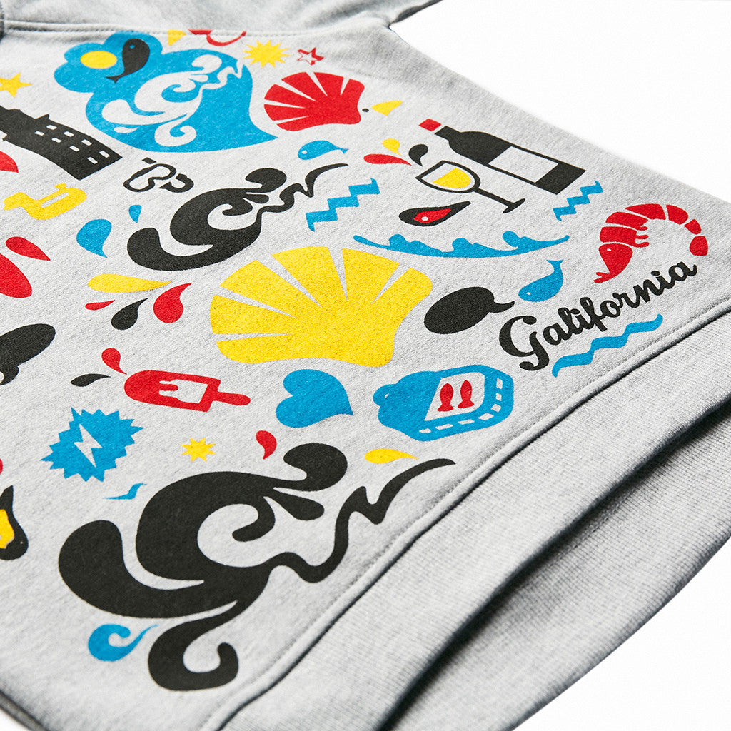 Sudadera gris iconos galifornia kids detail