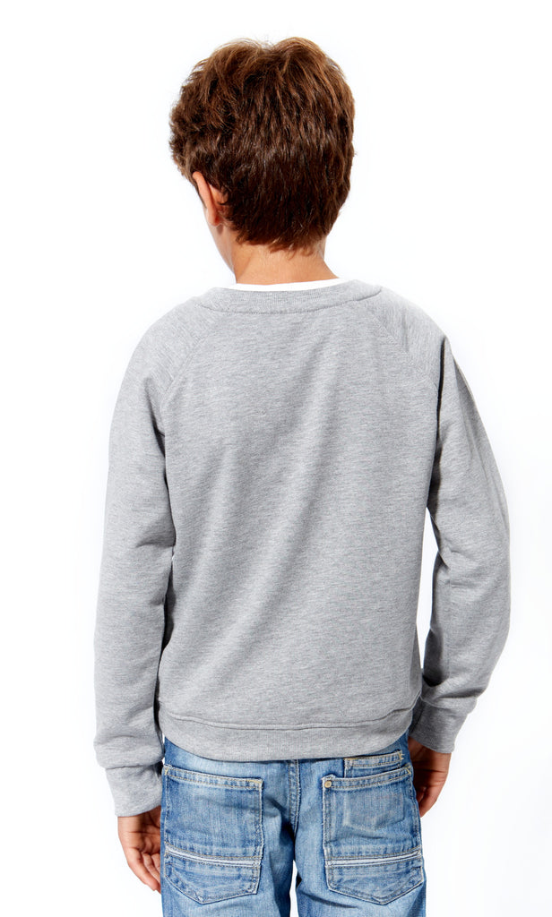 Sudadera gris iconos galifornia kids back