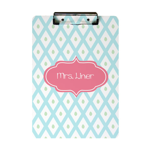 Blue Lattice Clip Board