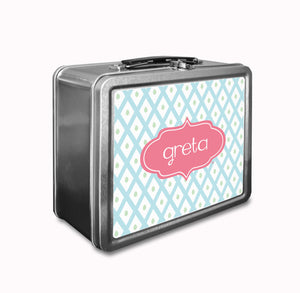 Blue Lattice Lunch Box