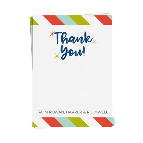Bright Stripe Thank You Note Cards