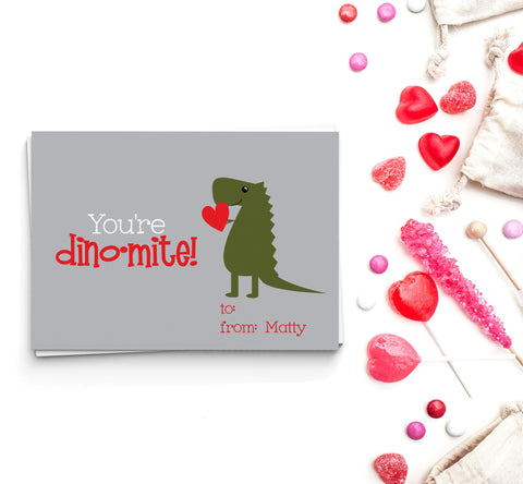 You're Dino-Mite Valentine's Cards