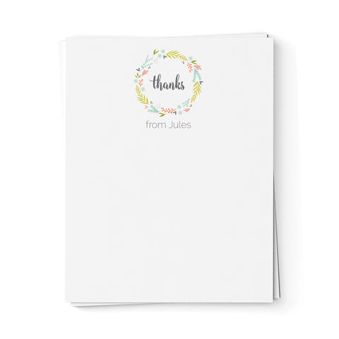 Floral Wreath Thank You Note Cards