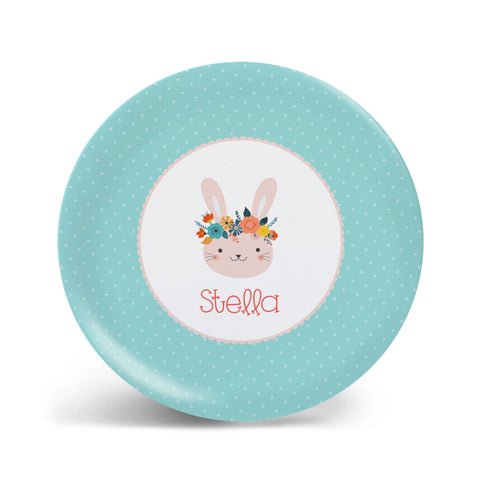 Flower Crown Bunny Plate
