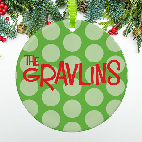 Green Polka Dot Ornament