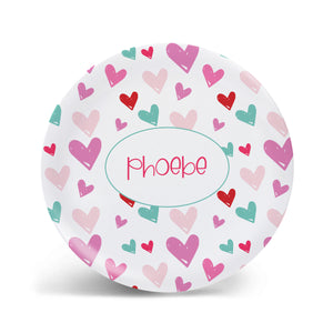 Hand Drawn Hearts Plate