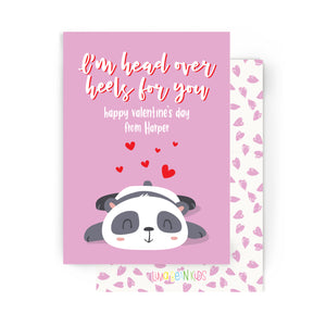 Head Over Heels Panda Valentine's Cards