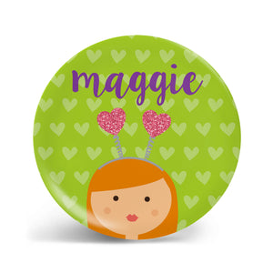 Heart Headband Girl Plate