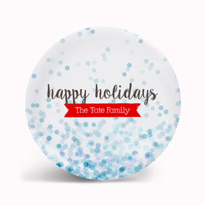 Happy Holidays Blue Confetti Plate
