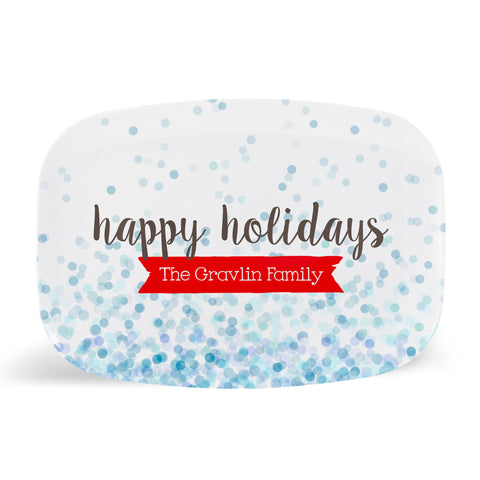 Blue Confetti Happy Holidays Platter