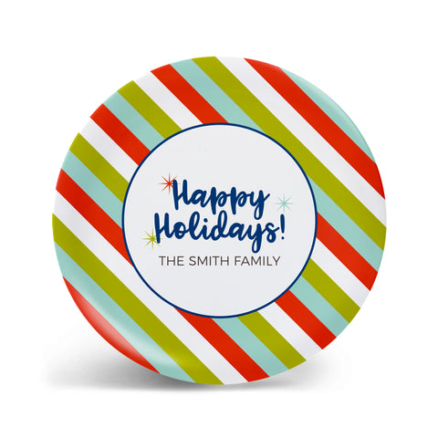 Happy Holidays - Bright Stripe Personalized Plate