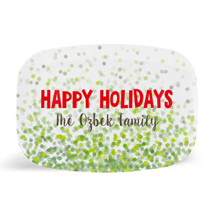 Green Confetti Happy Holidays Platter
